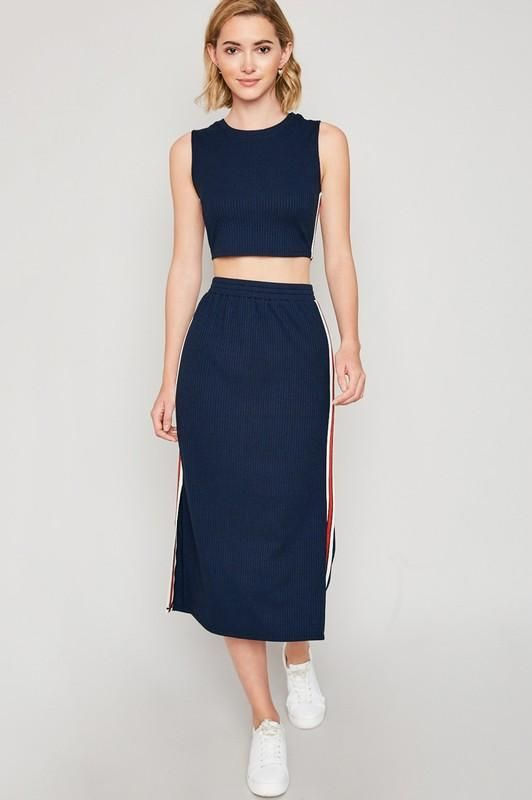 c3a503c600883 Navy Side-Stripe Tank And Midi Skirt Set | Products | Striped tank ...
