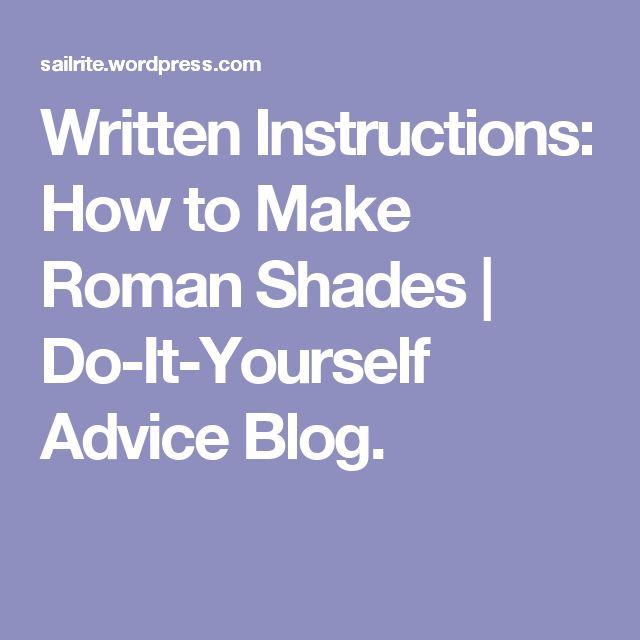 make roman shade instructions
