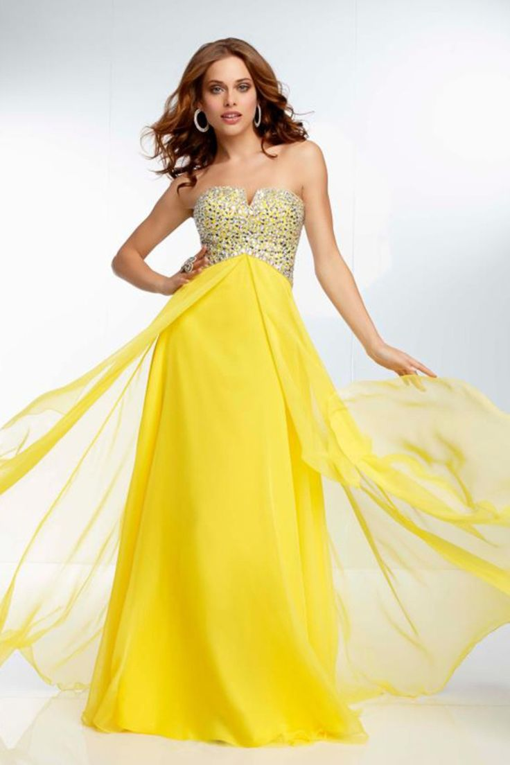 Start out searching for your perfect long maxi strapless yellow prom dress  by flipping through magazines