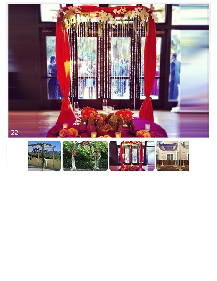 Rental chuppah from Miracle Chuppahs, red fabric decoration and backdrop