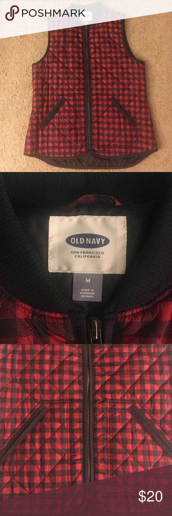 Medium Old navy red gingham vest This vest is great for the fall /winter season! In great condition, only worn once ! Vest is too big for me now and would like to sell . Old Navy Jackets & Coats Vests