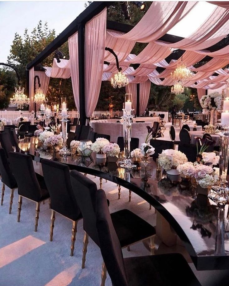 Outdoor wedding reception, Reheaesal dinner, bridal shower, decor. Draped blush pink and roses with rose gold accessories