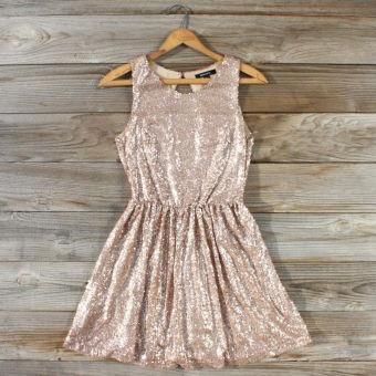 Rose Quartz Glittering Party Dress, Sweet Women's Bohemian Clothing