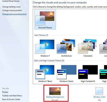 How to change desktop background Windows 7