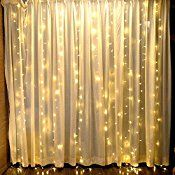 Fefelightup 304 LED Curtain Lights Icicle Lights Fairy Backdrop Lights String Lights(Warm White) 9.8ftx9._.8ft )