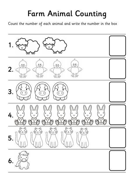 farm animal counting worksheet…Let children stamp numbers in or write numbers …