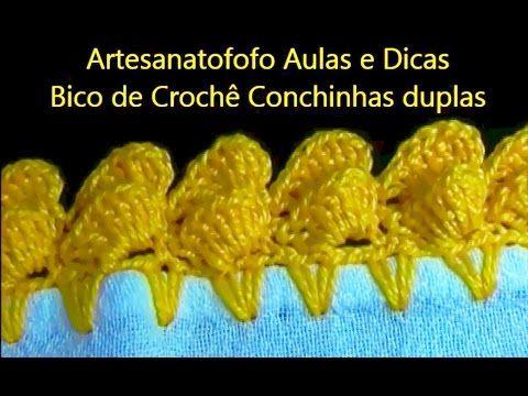 As Receitas de Crochê: Bico em crochê conchinhas duplas - CROCHÊ 22 - (INICIANTES)