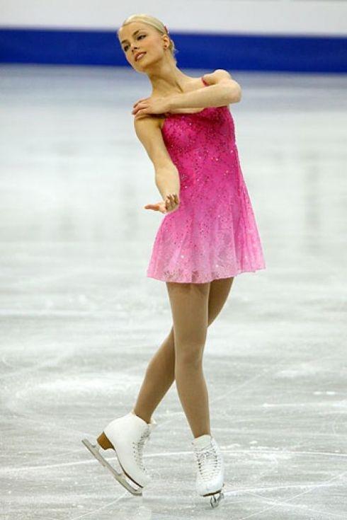 Kiira Korpi, Pink Figure Skating / Ice Skating dress inspiration for Sk8 Gr8 Designs.