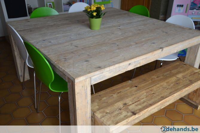 Vierkante eettafel steigerhout + bankje - Te koop   2dehands.be