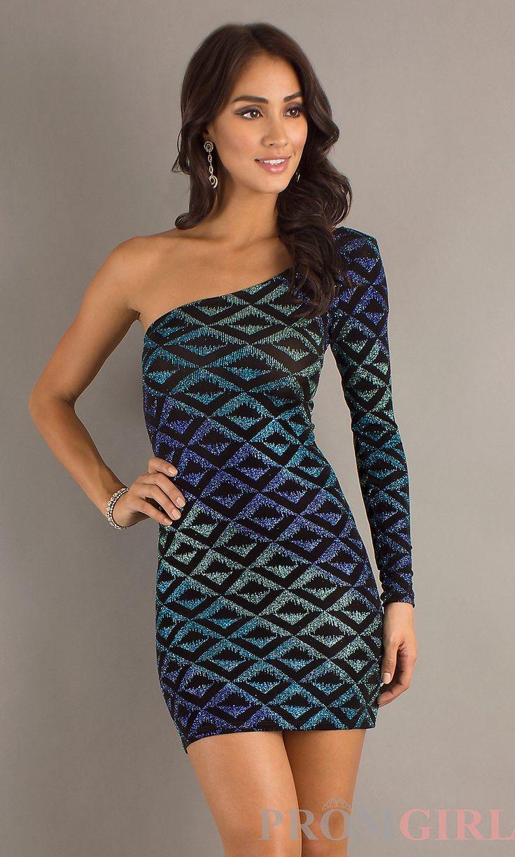 multi colours sheath short one shoulder dress