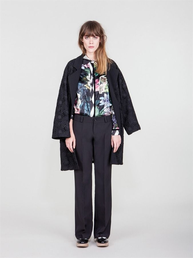 Naughty Dog FW1617 coat decorated with macramé lace, silk Autumn print shirt and Men's cut  trousers