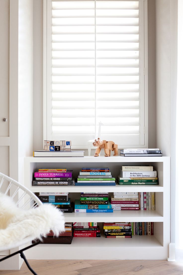 Under window decor   best shelves images on pinterest  bookcases bookshelf styling