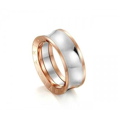 replica faux bvlgari anish kapoor ring in pink gold and steel narrow