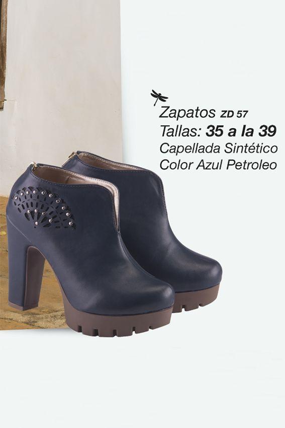 Hermosos botines con capellada en sintético Referenia: ZD57 Tallas: 35 a la 39 Color: Azul petroleo Precio: $95.000