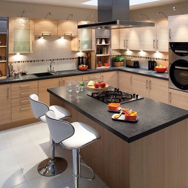 ... Plywood Kicthen Cabinet Combined With Rectangle Kitchen Island Using  Black Granite Countertop. Adorable Kitchen Cabinets Designs For Small  Kitchens Part 88