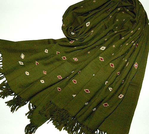 Olive green shawl. The geometric sequin designs are a nice touch.