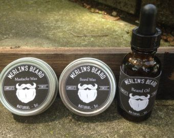 Merlin's Beard Wax, Beard Oil, and Mustache Wax - Beard Care Kit