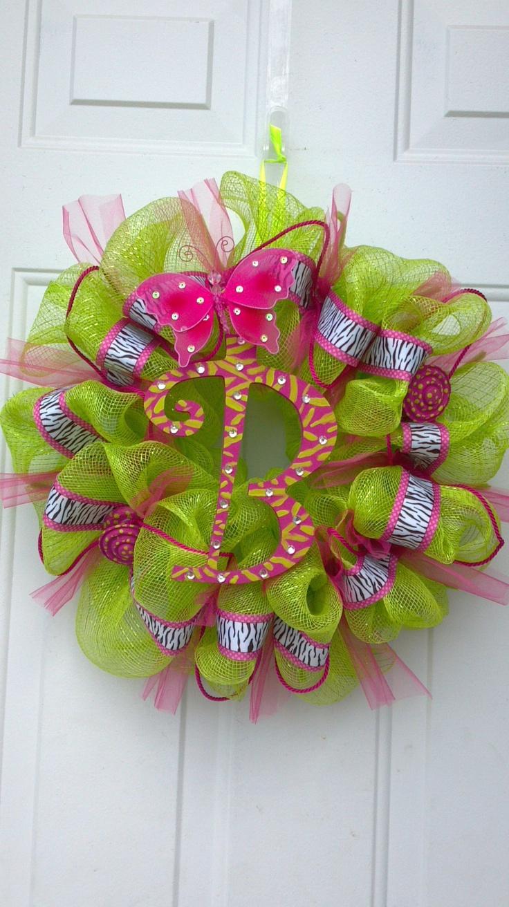 "DIY deco mesh wreath. ""B"" by Tonia  crafts etc  Pinterest"