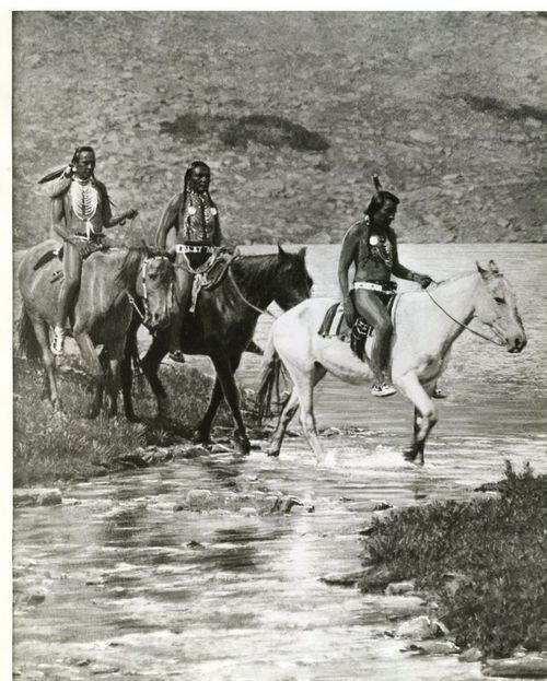 Native American Indians Crossing A River                                                                                                                                                                                 Plus