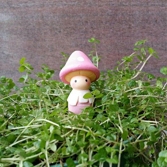 Pink Mushroom Fairy Friend Figure   Miniature Garden Accessories, Fairy Garden  Figurines, Faerie Garden