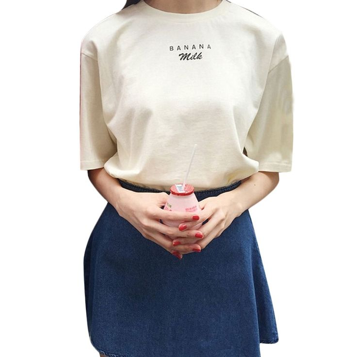 2017 Summer Kawaii T shirts Banana Milk Letters Printed Women Shirts Short Sleeve Casual Tees Pink /beige poleras de mujer * Find similar products by clicking the image