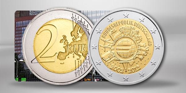 """Deutschand 2 Euro Gemeinschaftsausgabe 2012 """"10 Jahre Euro Bargeld"""""""