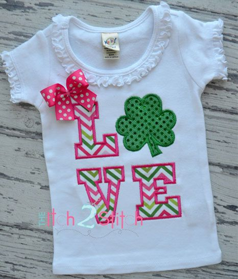 Shamrock Love Applique Design for Machine Embroidery. $4.00, via Etsy.