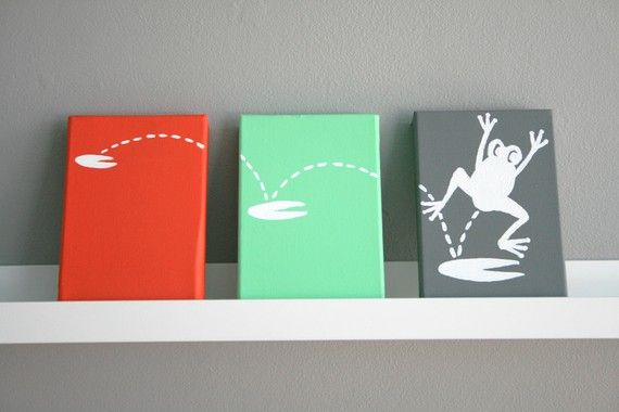 "Leaping Frog Painting Series of 3 for a baby nursery, kids room or playroom (each panel 4x6"")"