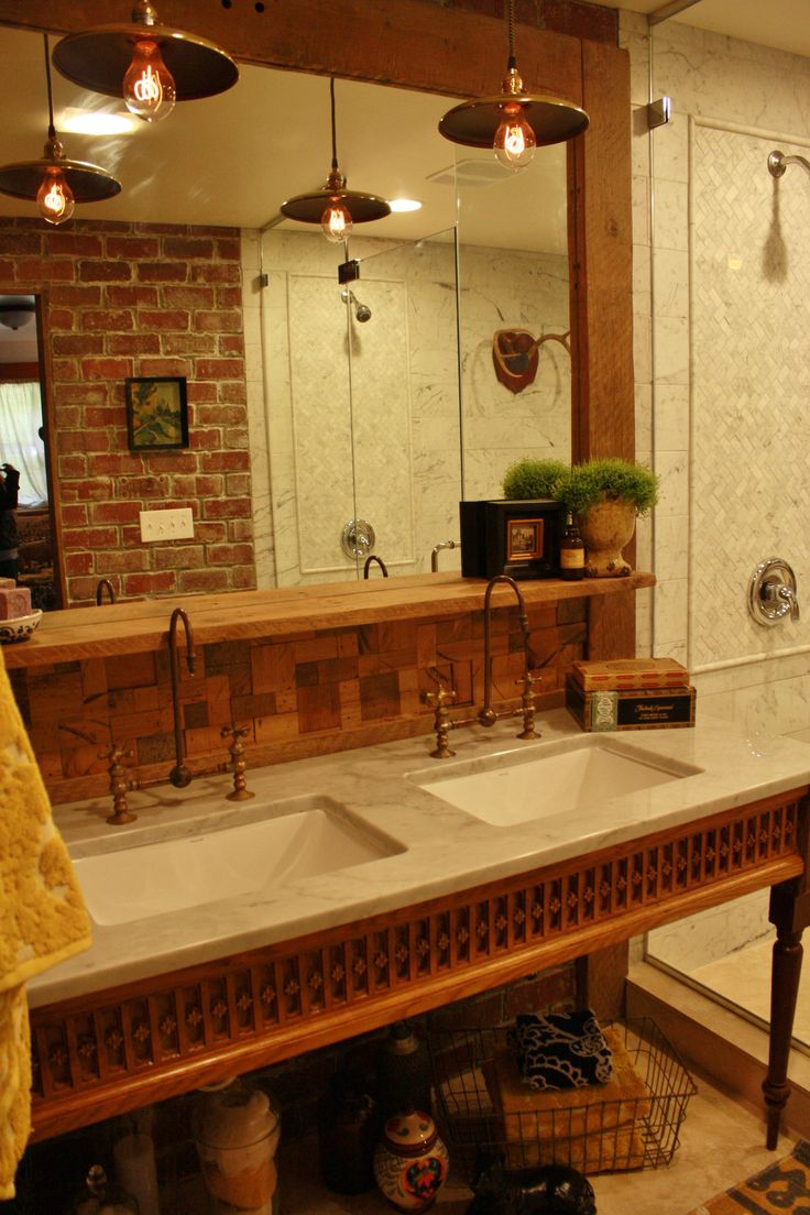 Marble Countertop With Salvaged Wood Details We Found At A Salvage Store.  Hunted Down Copper