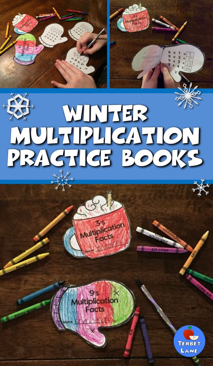 Winter Multiplication Practice Books make learning and reviewing multiplication tables easy and fun! Students make their own multiplication facts books in two designs; a warm cup of hot chocolate or a cozy mitten. One book for each fact family 1-12 in each design. #multiplication #math #winter #wintermath #middleschoolmath