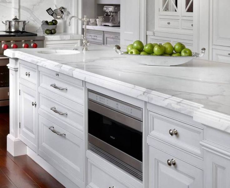 Kitchen , Kitchen Island Countertop Ideas : Kitchen Island Countertop Marble White Color With Drawers And Microwave And Sink And Faucet