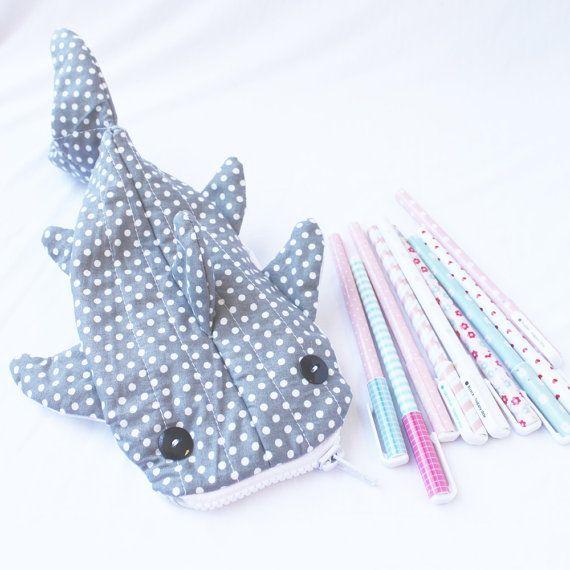 Cute Whale Shark Pencil Case Zipper Pouch  Gray Polka by Yueeeru