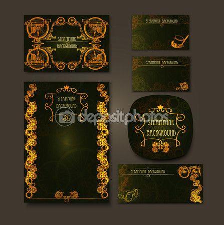 Steampunk στυλ steampunk φόντο πλαισίου. Σύνολο vintage κάρτες για τις επιχειρήσεις. Σχεδίαση επαγγελματικής κάρτας — Αρχείο Εικονογράφησης #84065444