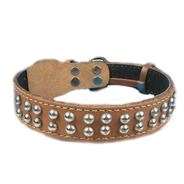 Pure Cowhide Silvery Round Rivet Pet Dog Leather Collar