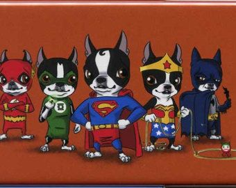 Boston Terrier Justice League dog art print by rubenacker on Etsy