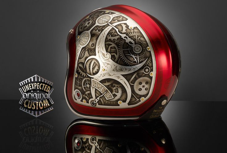 Custom motorcycle helmet STEAMPUNK 2, Ruby Pavillon Voltaire - UNEXPECTED CUSTOM