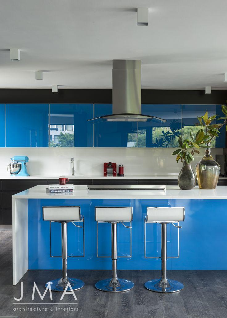 Bright blue, kitchen interior.