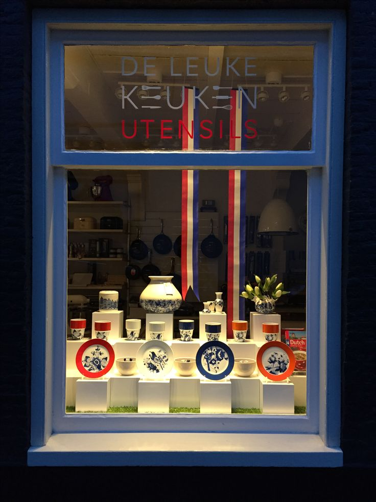 Shop Window Display with Dutch souvenirs for De Leuke Keuken in Edam the Netherlands  By Man-Made Design Amsterdam.