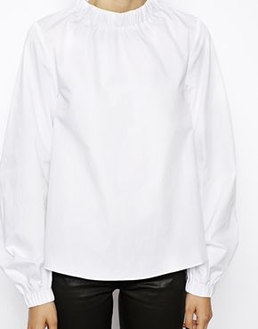 Image 3 ofASOS Cotton Top with High Neck and Zip back detail