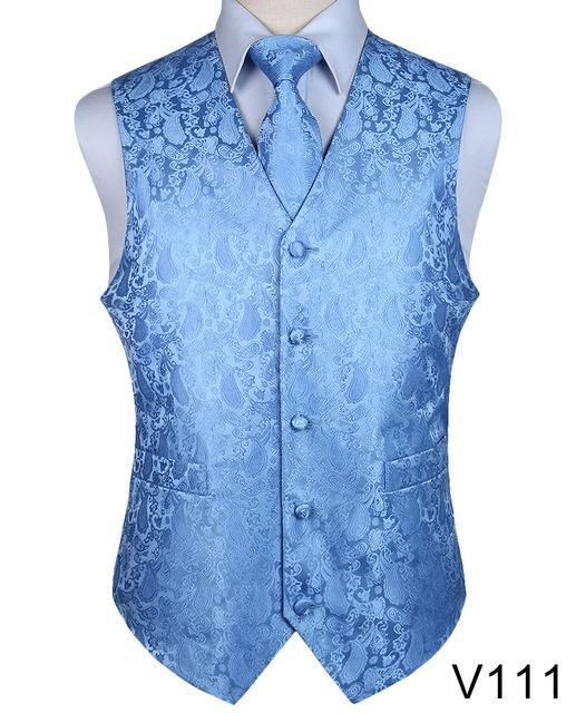 c10da59e81f06 Men's Classic Party Wedding Paisley Plaid Floral Jacquard Waistcoat Vest  Pocket Square Tie Suit Set Pocket Square Set