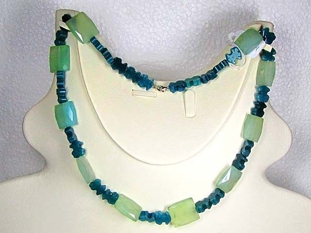 Necklace  LK0654 GREEN AGATE BEADS WITH FACETED QUARTZ  NATURAL GREEN AGATE WITH FACETED QUARTZ  NECKLACE FROM GEMROCKAUCTIONS.COM