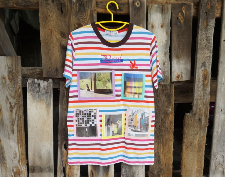 Photo Frame on T-Shirt(Multi Color Stripe)-New Trend Wall Decorate-Idea for Home Decor by HeavenKnow on Etsy