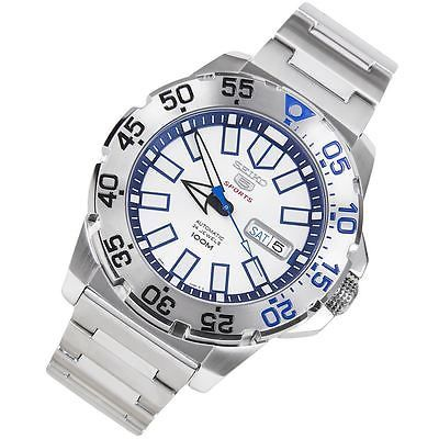 Seiko SRP481 Seiko-5-Sports-Monster-White-and-Blue-Automatic-Watch 43mm, 100m. $145 on eBay