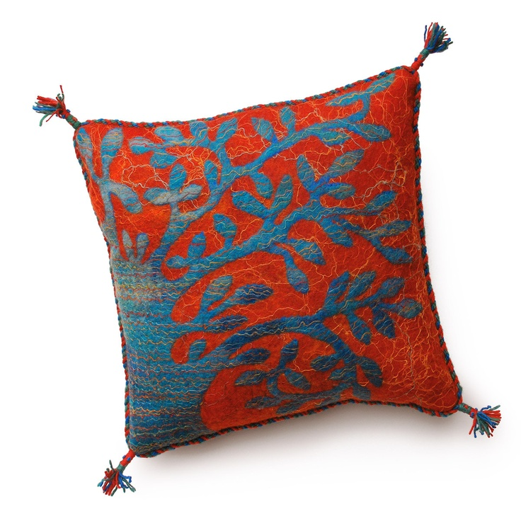 gobifelt Felted cushion with tree pattern, turquoise on red. 40 x 40 cm