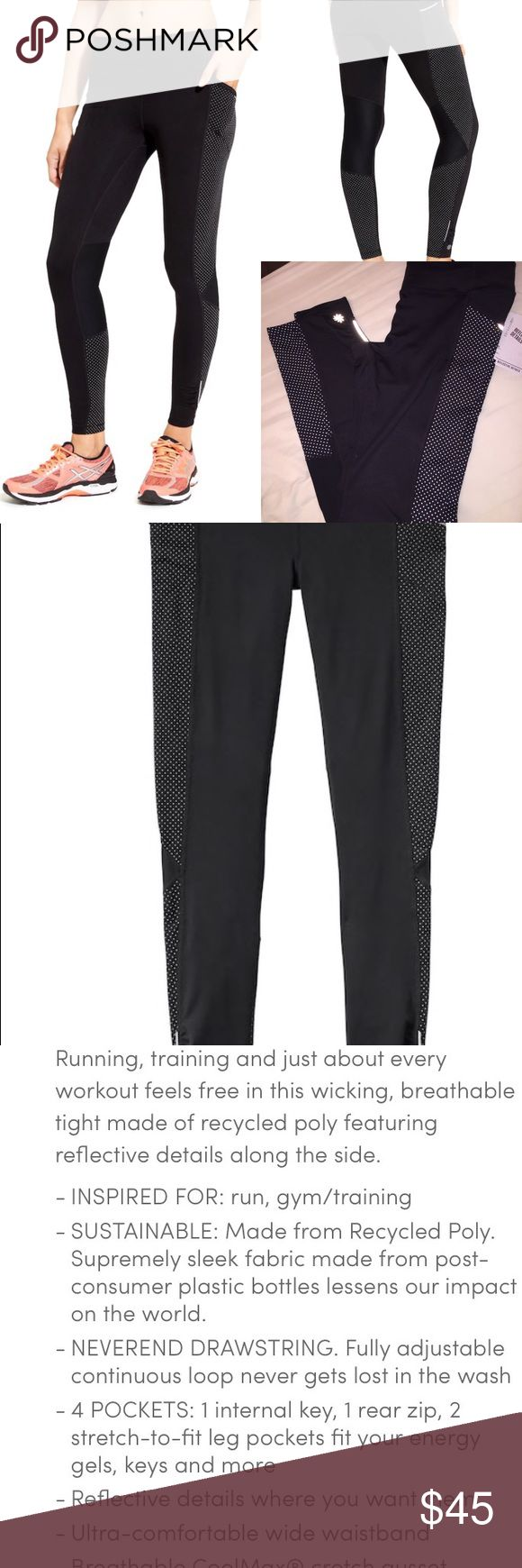 "Athleta Dot Be Free Reflective Tights Fitted, Mid-rise, Tight leg Fits next to skin, sits two fingers below your navel Inseam: Regular: 27"" Deep side pockets. Reflective trim - great for early morning runs! Black Size SMALL NWT Athleta Pants Leggings"