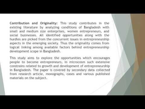 A Study of Entrepreneurship Development in Bangladesh Pros and ConsJASR ...