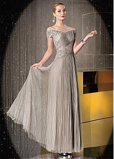 Chic Tulle Off-the-shoulder Neckline Floor-length A-line Mother Of The Bride Dress
