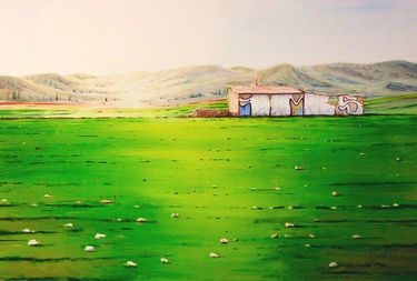 "watercolor...40 x 60 cm. Saatchi Art Artist OSCAR ALVAREZ; Painting, ""CASAS RURALES 5"" #art"