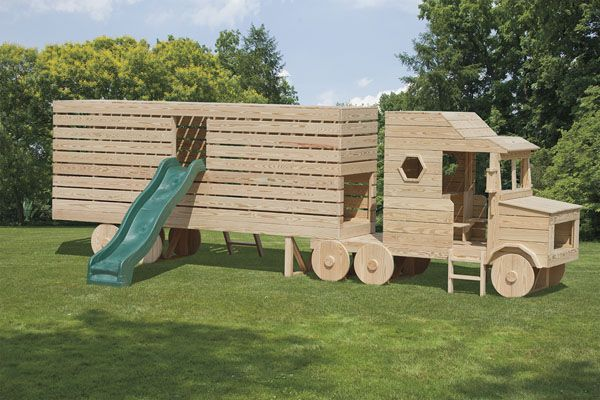 This is pretty cool. Would look great in my  backyard.  My husband, the trucker, would love to have this in our back yard!  I wonder who would be playing in it more, husband or grand kids?:
