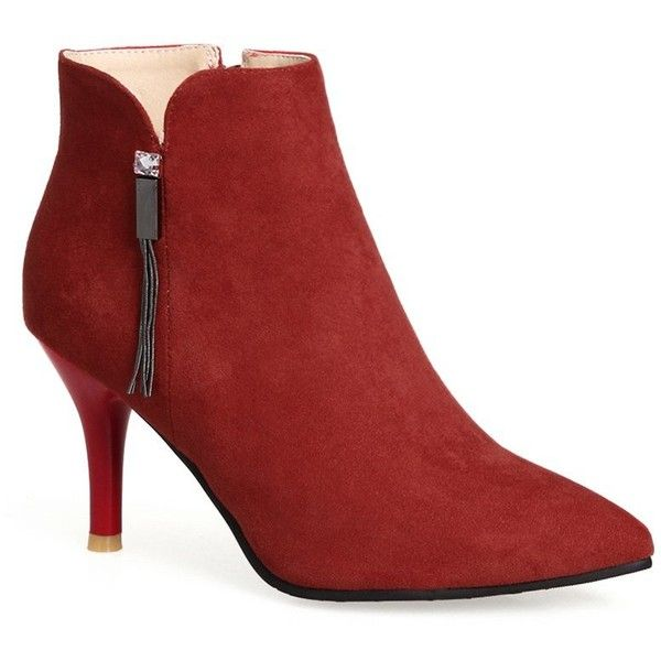 Stiletto Heel Pointed Toe Side Zip Boots ($24) ❤ liked on Polyvore featuring shoes, boots, ankle booties, red stiletto boots, side zip booties, red booties, pointed-toe boots and pointed toe ankle booties